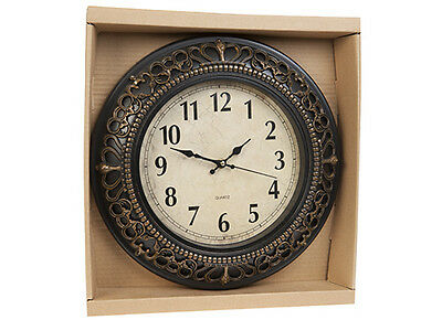 Antique Wall Clock Quartz Crown Scroll Traditional Home 30.5cm free postage