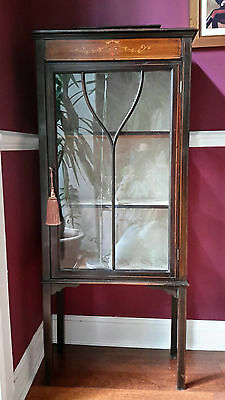 Attractive Antique Edwardian Inlaid Mahogany Display Music Cabinet