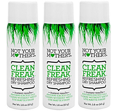 Lot 3 NEW Not Your Mothers Clean Freak REFRESHING DRY SHAMPOO W/Free Warming CAP