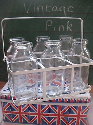 Vintage style set of 6 glass old school style milk bottles in a crate~wedding