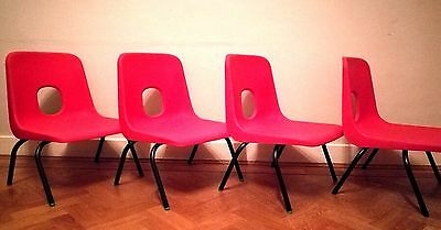 Robin Day Hille 1960 x four red vintage retro low stacking school chairs adult