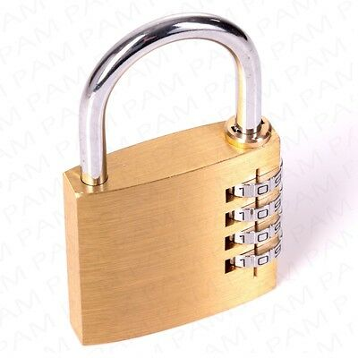 HIGH QUALITY 50mm LARGE SOLID BRASS COMBINATION PADLOCK Garage/Shed Security