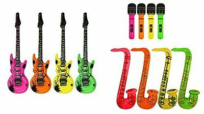 Inflatable Guitar Saxophone Microphone Blow Up Fancy Dress Party Prop lot
