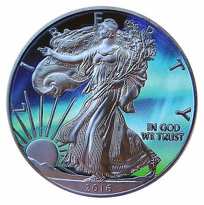 1 oz 999 Silver American Eagle Coin Ruthenium plated, Colorized Northern Lights