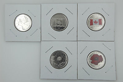 Canada 25 Cent Quarter Collection - (5)Full 2015 Set of Uncirculated Coins! Look