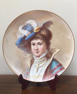 "Antique KPM Hand Painted Portrait 12"" Charger Wall Cabinet Plate"