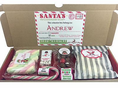 Personalised Christmas Eve Selection Gift Box Reindeer Noses, Elf Pillows Sweets