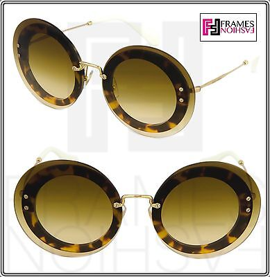0d8fe4590bc MIU MIU REVEAL 10R White Brown Havana Gold Round Sunglasses MU10RS