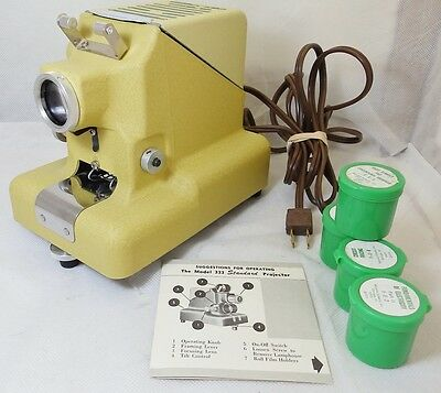 Vintage ASI Filmstrip Projector Model 330-A Yellow w/Instructions 4 Films Box