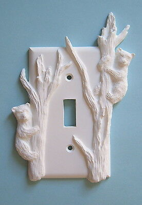 2 Bear cub light switch plate wall cover toggle outlet switchplate cabin decor