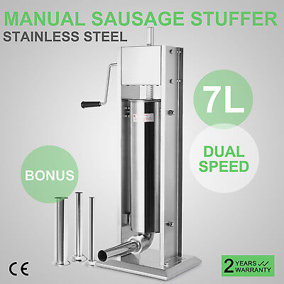7L 20Lbs Commercial Stainless Steel Sausage Stuffer Restaurant Kitchen