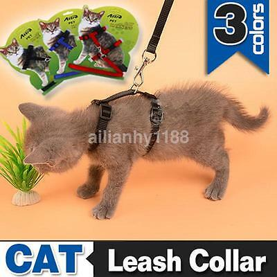 3 Colors Cat Walking Lead Leash Adjustable Nylon Harness Collar For Pet Kitten