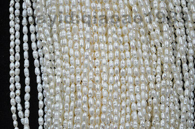 Wholesale 15 strands small 3mm rice freshwater pearl strings
