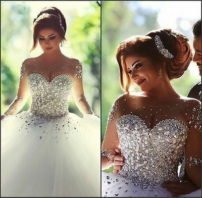 New Bling Bling Gorgeous Princess Wedding Dress Bridal Ball Gown Size 4 - 16W