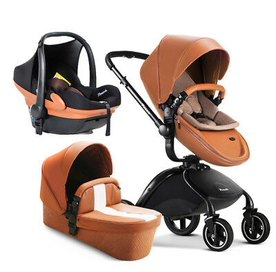 Baby Stroller 3 in 1 Infant High Landscape pushchair PU with Bassinets car seat