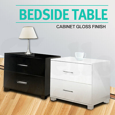 Bedside Table Cabinet High Gloss Chest 2 Drawers Lamp Side Nightstand