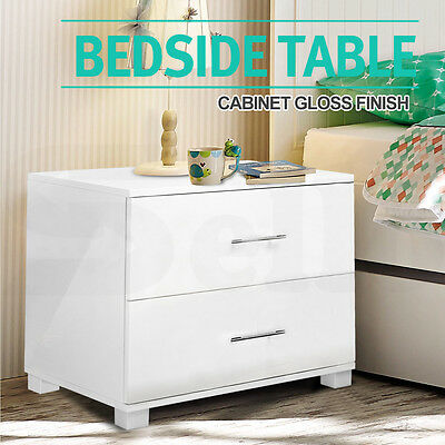 Bedside Table Cabinet High Gloss Chest 2 Drawers Lamp Side Nightstand White