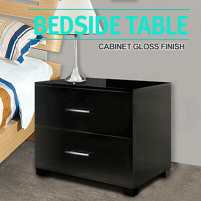 Bedside Table Cabinet High Gloss Chest 2 Drawers Lamp Side Nightstand Black