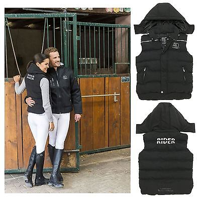 Equi-Theme ?R&D? Quilted Waistcoat Outdoor Gilet Black Kids