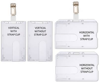 Rigid Enclosed Id Badge Holder Horizontal Or Vertical With Or Without Clip Strap