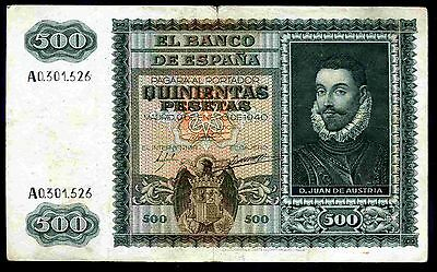 Spain. 500 Pesetas, A0.301.526, 9-1-1940, Nearly Very Fine.