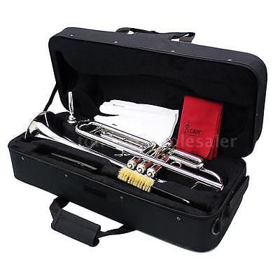 Trumpet Bb B Flat Silver-plated Brass Exquisite with Mouthpiece + Case M4D8