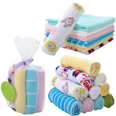 8Pcs Baby Infant  Bath Towel Washcloth Bathing Feeding Wipe Cloth Soft