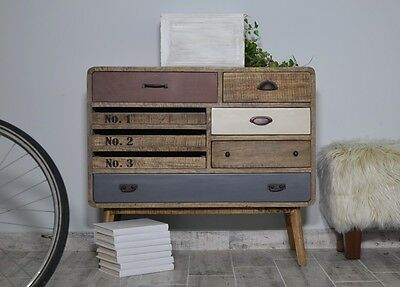 Vintage Industrial Sideboard Cabinet Retro Wooden Chest Of Drawers Loft Style