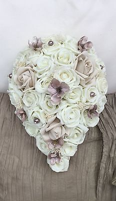 Champagne Beige Ivory Pearls Roses Small Teardrop Bouquet Brides Wedding Flowers
