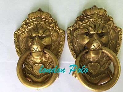 vintage antique brass lion door knockers one peyer 20 cm