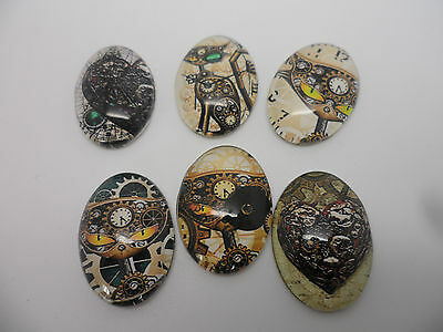 6 Steampunk Mechanical Cats 18x25mm Cabochons,flatback, jewellery,scrapbooking,