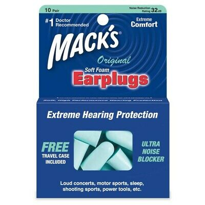 Macks Sleep Travel work Earplugs - Mack's Original Soft foam 10 Pairs Ear plugs