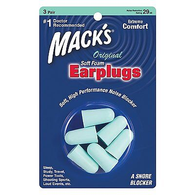 Macks Sleep Travel work Earplugs - Mack's Original Soft foam 3 Pairs Ear plugs