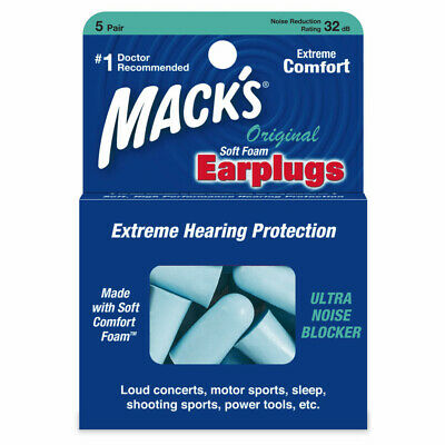 Macks Sleep Travel work Earplugs - Mack's Original Soft foam 5 Pairs Ear plugs