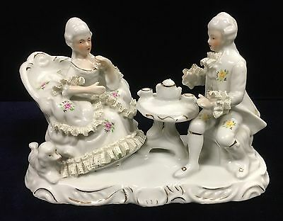 Vintage Porcelain Victorian Figurine of Gentleman and Lady Drinking Tea 23cm