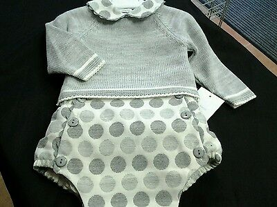 SALE ~~SPANISH BOYS GORGEOUS GREY/CREAM KNITTED TOP/JAM PANTS ~ ages3/6/9/12MTHS