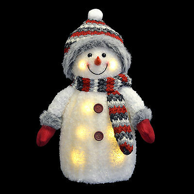 """13"""" LED Light Up Christmas Snowman Room Ornament With Red And Grey Accessories"""