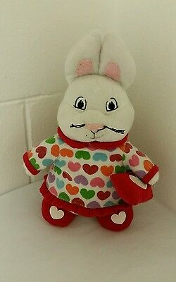 "Max & Ruby Plush Bunny Rabbit Doll Girl Red Heart 9"" Rosemary Wells Sleepover"