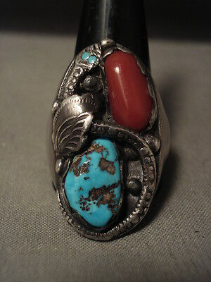 Huge Early Vintage Navajo/ Zuni Persin Turquoise Coral Snake Silver Ring Old