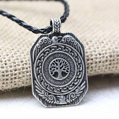 Antique Silver Plt Ravens Tree of Life Pendant Necklace Gift Viking Norse Oblong