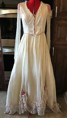 Vintage 70's Handmade Ivory & Pink Victorian Wedding Dress Gown Fine Net Lace M