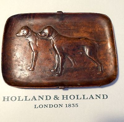 Holland And Holland London Gundog Bronze Money Tray Or Cigar Rest. Not Purdey