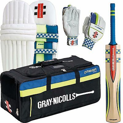 Gray Nicolls Omega Strike Cricket Kit Bat Gloves Pads & Bag Youths Right Hand