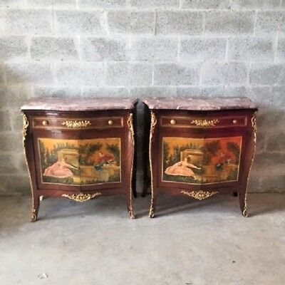 antique pair of two commodes with French handmade painting and marble top