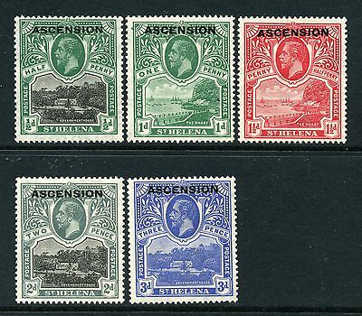Ascension 1922 o/p on St Helena p/set (5v.) SG 1-5 mint