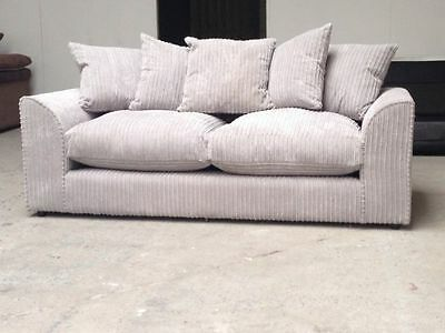 NEW Dylan/Chicargo/Chicago 3+2 Seater Jumbo Cord Fabric Sofa Set In Silver