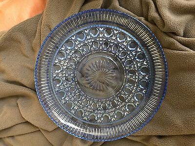 "Light Blue Depression Glass Serving Tray 11"" Round - NICE!"