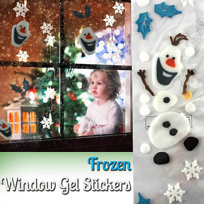 Reusable Frozen Window Gel Stickers - Elsa Olaf Decorations Clings For Xmas Kids