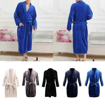 Loose Shawl Collar Wrap Belted Long Coral Fleece Robe Spa Bathrobe for Men Women