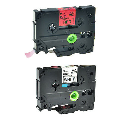 2PK 9mm Black Print Label For Brother Ptouch TZ Tape TZ221 TZe221 TZe421 Printer